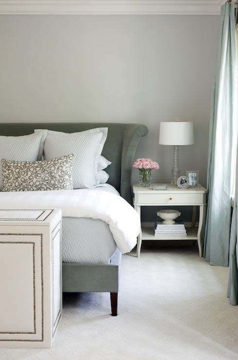 Velvet Wingback Headboard  Transitional  bedroom  At