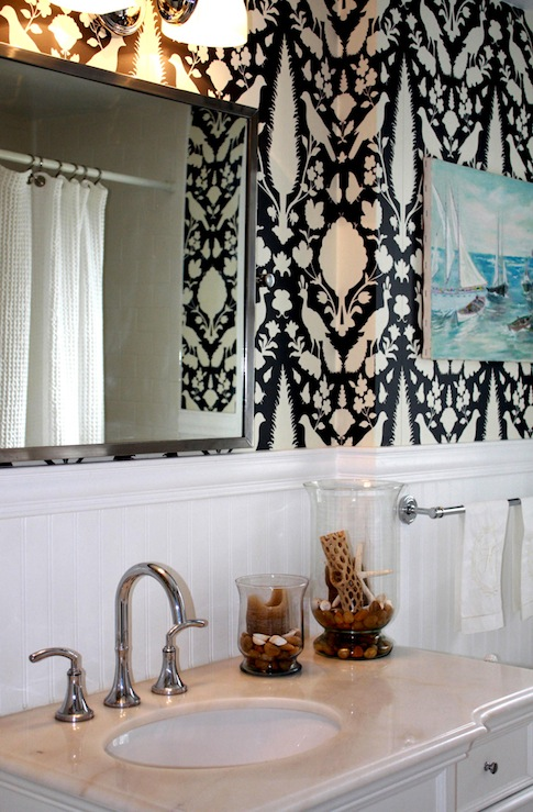 Chenonceau Wallpaper  Transitional  bathroom  Porter