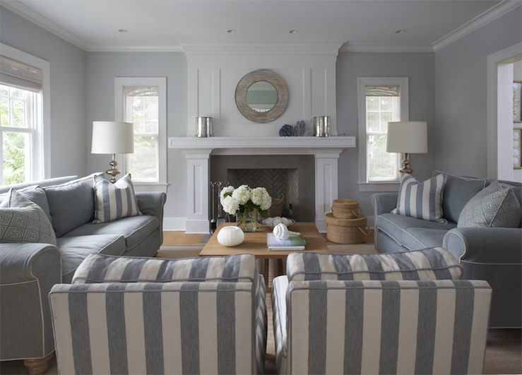 blue sofa white piping 3 cushion slipcovers monochromatic living room design ideas