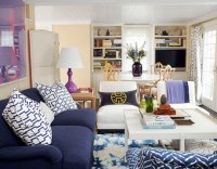 Navy Blue Sofa - Transitional - living room - House Beautiful