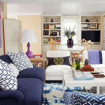 blue and purple living room Navy Blue Sofa Design Ideas