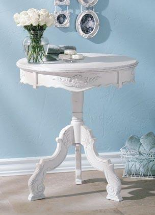 Furniture Romantic Carved Wood Accent Table In White Distressed Finish  design ideas and