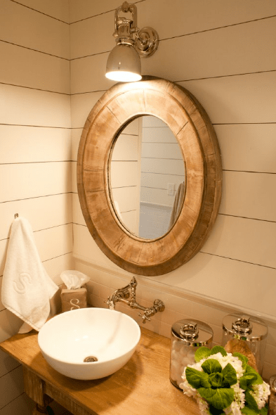 Oval Wood Mirror  Cottage  bathroom  Munger Interiors