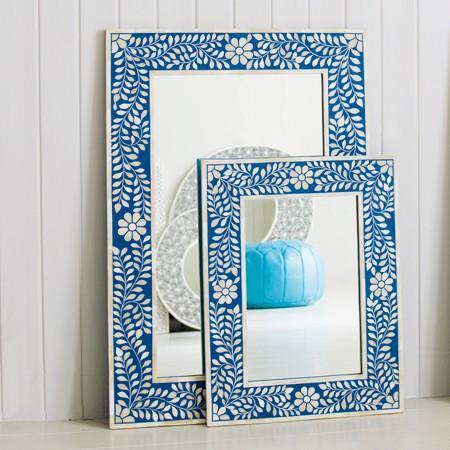 Blue Floral Bone Inlay Mirror