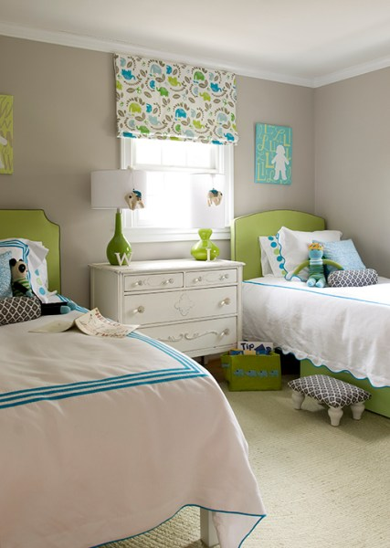 gray and pink twin girl bedroom ideas Green Grasscloth - Contemporary - Boy's Room