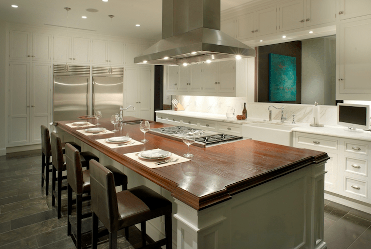 kitchen island with stove peerless faucet hood over contemporary b and g design