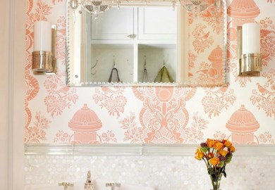 Bathroom Damask Wallpaper