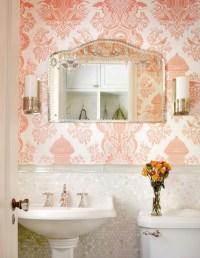 Pink Damask Wallpaper - Traditional - bathroom - Alan ...