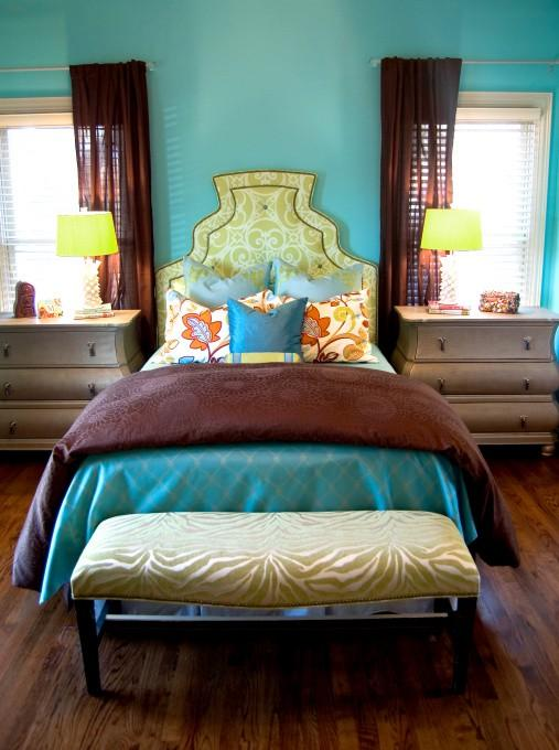 Color Inspiration  Rich turquoise and brown bedroom