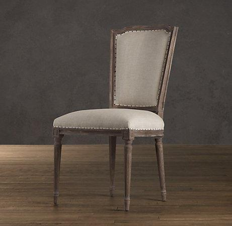 Vintage French Nailhead Upholstered Side Chair  Dining Chairs  Restoration Hardware