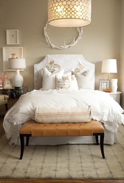 White Slipcovered Headboard  Contemporary  bedroom