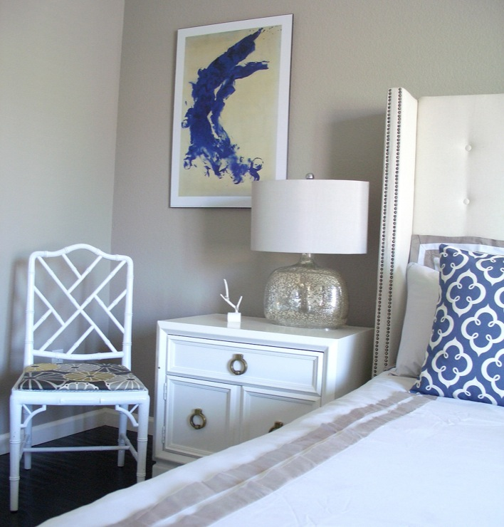 White Studded Headboard  Contemporary  bedroom