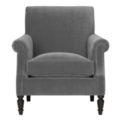 Gray Velvet Sofa With Nailheads Stylish Wooden Set Designs Suffolk Chair In Chairs - Crate&barrel