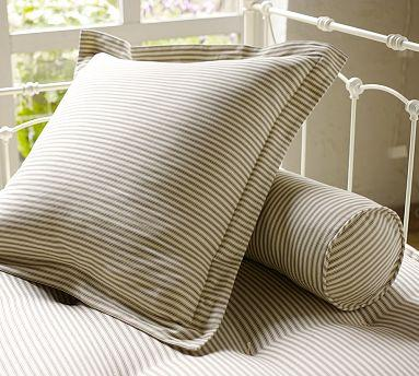 living rooms with blue and brown simple wall showcase designs for room indian style ticking stripe pillow cover, euro, brownstone - pottery barn