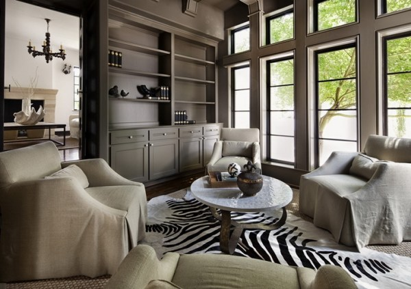 painted home office built ins Taupe Paint - Transitional - den/library/office - Simple Everyday Glamour