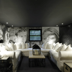 Mitchell Gold Sectional Sofa Bennett Leather Basement Movie Room Design Ideas
