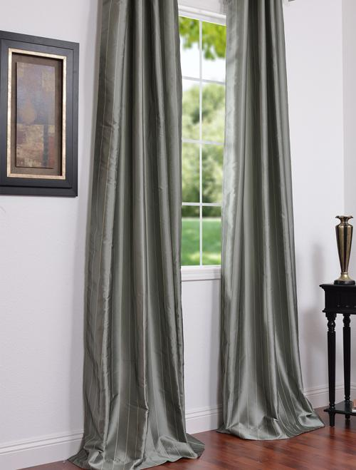 Solid Faux Silk Taffeta Platinum 96inch Curtain Panel