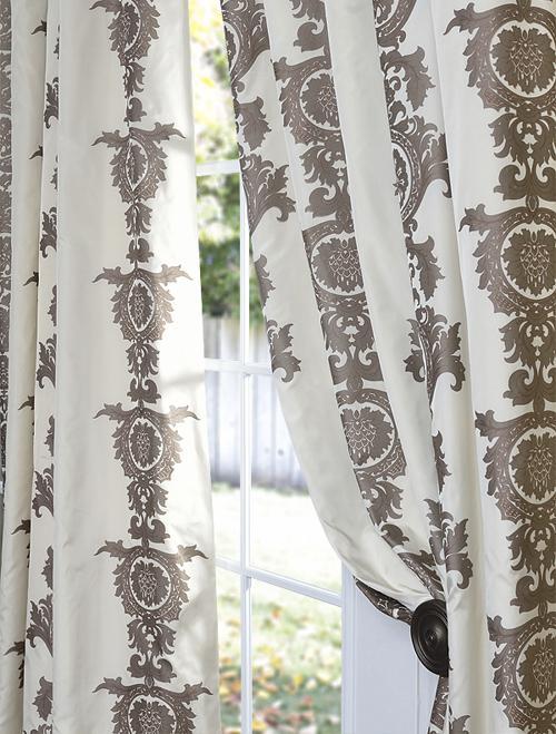 Strauss Seafoam Stripe Faux Silk Curtains  Panels