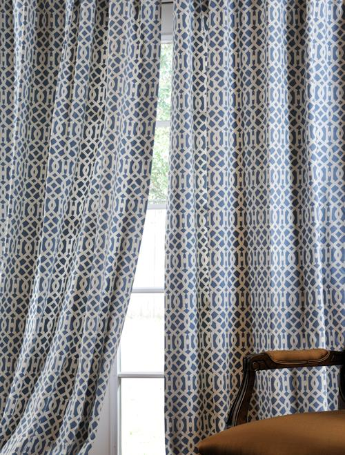 Nairobi Denim Printed Cotton Curtains  Drapes  Half