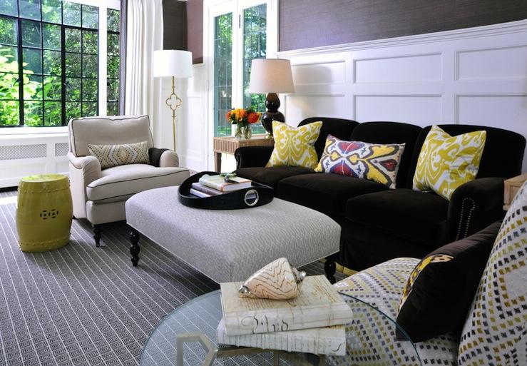 Brown Velvet Sofa  Transitional  living room  Muse