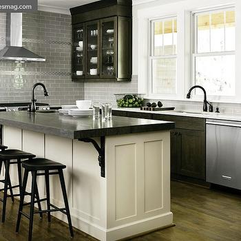 kitchen island with sink and stove top repair distressed ivory cabinets design ideas