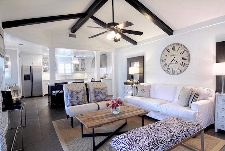Black Wood Beams Transitional Living Room Cote De Texas