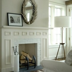 Blue And White Striped Accent Chair Hanging Mirror Above Fireplace - Cottage Living Room Lynn Morgan Design