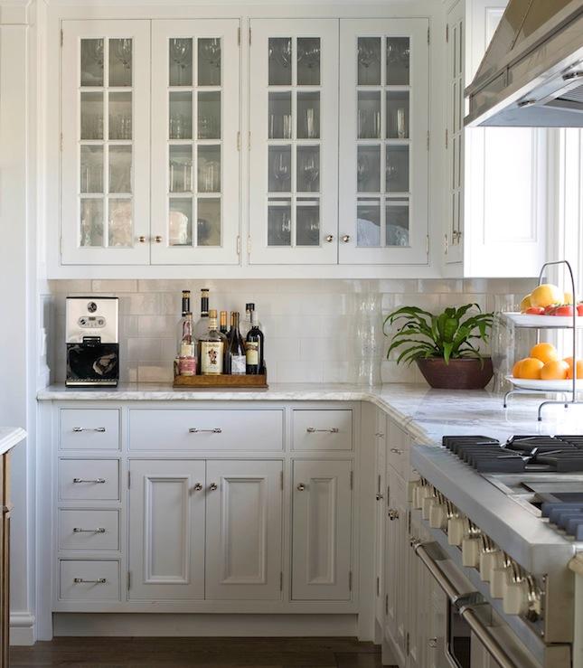 Glass Front Kitchen Cabinets  Transitional  kitchen  Kvanum