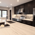 Contemporary kitchen design with espresso stained kitchen cabinets