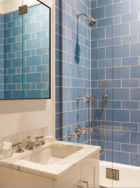 Blue Shower Tiles - Contemporary - bathroom - Mendelson Group
