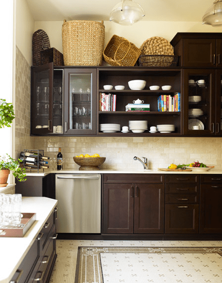 chocolate kitchen cabinets modern knobs brown design ideas gorgeous city with stained white quartz counter tops open shelves crackled subway tiles backsplash and