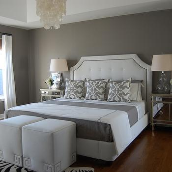 grey and white contemporary bedroom Grey Blue Bedroom Walls - Contemporary - bedroom