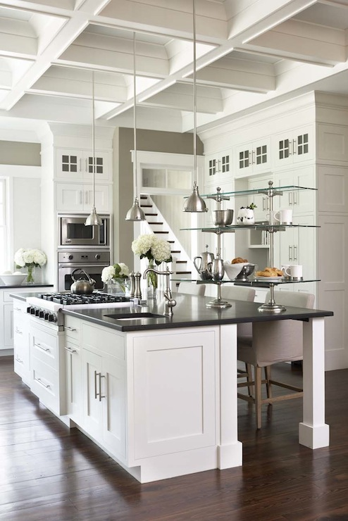 panda kitchen cabinets rustic tiles coffered ceiling - transitional ...
