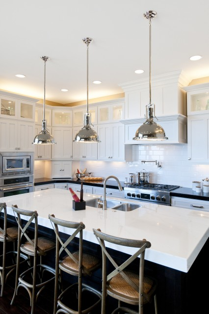 Tolix Stools  Transitional  kitchen  Kwinter Design
