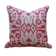 Tufted Gray Sofa White Twin Bed Magenta Ikat Pillow - Pieces