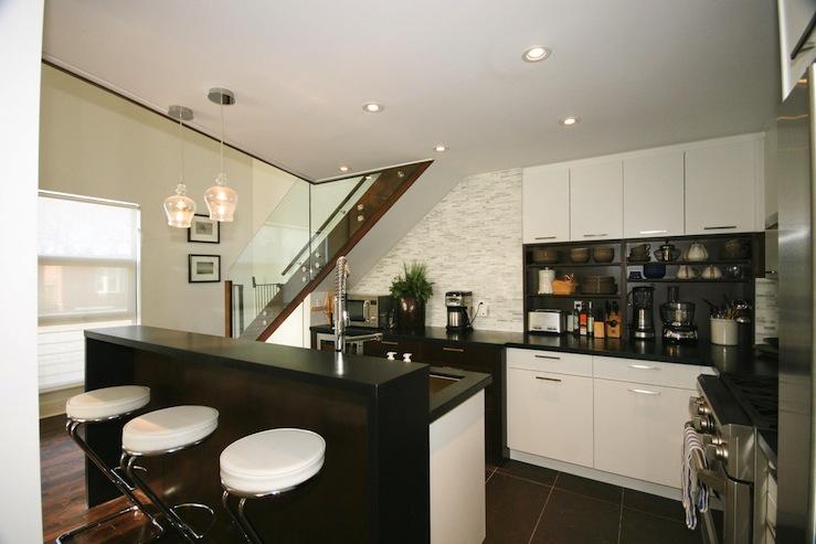 Black Keys Wallpaper Chrome Bar Stools Contemporary Kitchen Benjamin