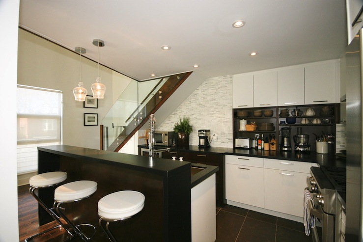 black slate floor tiles kitchen drawers for cabinets chrome bar stools - contemporary benjamin ...