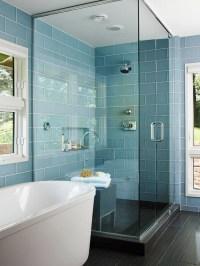 Blue Glass Shower Tiles Design Ideas