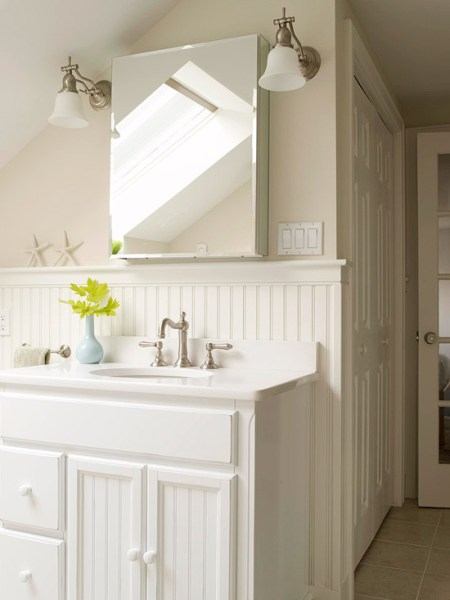 white wainscoting bathroom vanity A Visit From My Inner Domestic Diva & 10 Beadboard