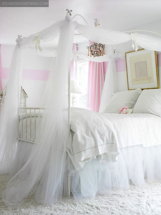 Girls Canopy Bed  Traditional  girls room  Atlanta Homes  Lifestyles