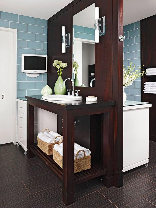 Double Sided Vanity  Contemporary  bathroom  BHG