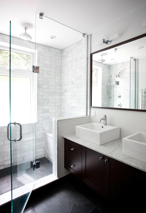Double Floating Vanity  Contemporary  bathroom  Benjamin Moore Cloud White  Designer Friend