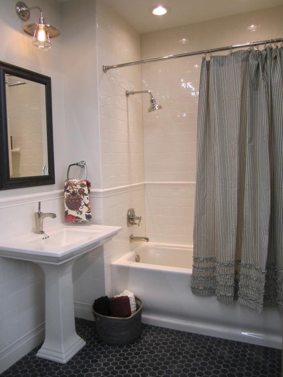 Gray Ruffle Shower Curtain  Transitional  bathroom