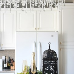 Wallpaper Kitchen Backsplash Metal Island Cart Gray Quartz Countertops - Transitional Ralph ...