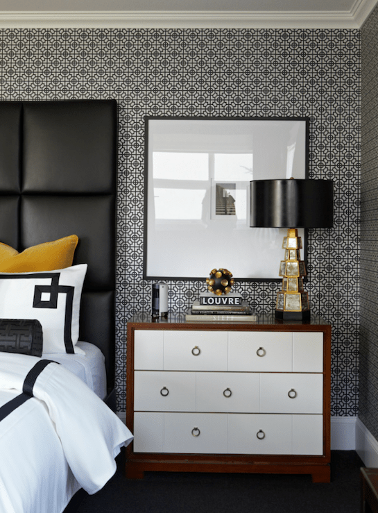 Black Leather Headboard  Contemporary  bedroom  Atmosphere Interior Design