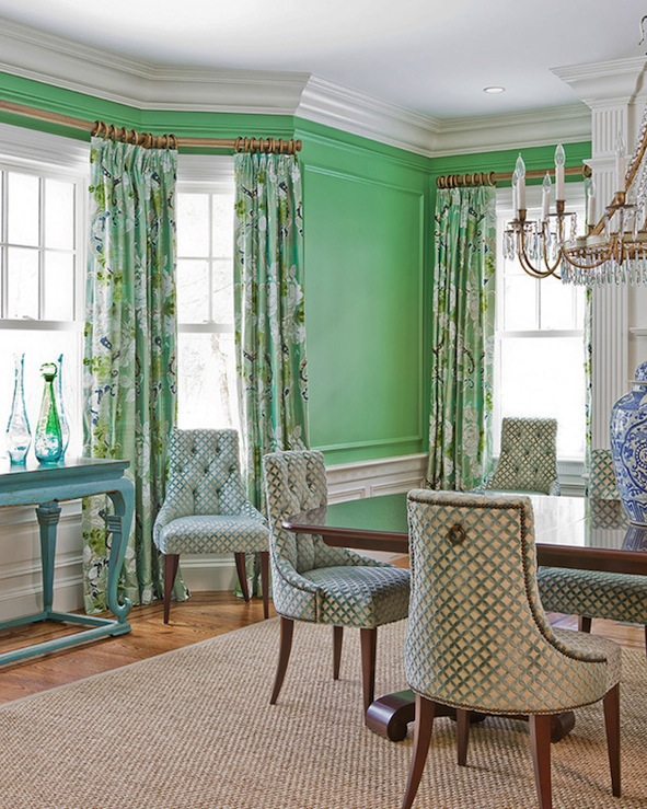 aqua and brown living room curtains gold accents green walls - eclectic dining stark paint chelsea ...