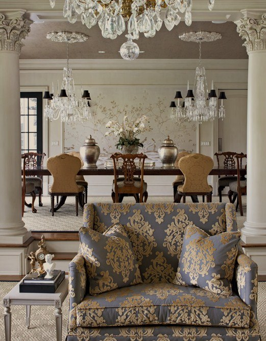 gray and taupe living room modern sofa for damask - french dining luxe interiors