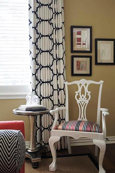 Black and White Curtains  Contemporary  bedroom  EJ Interiors