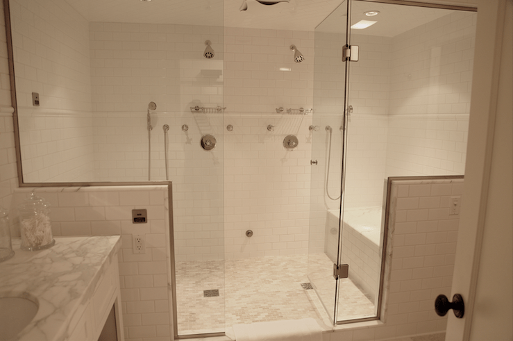 His and Her Shower Heads  Transitional  bathroom  Angie