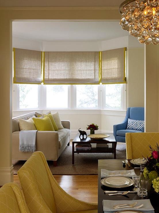 Gray and Yellow Roman Shades  Contemporary  living room  Jute Interior Design